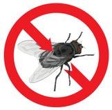 Verboden vliegen. Belemmerd teken. Stock Foto