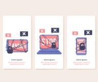 Verboden voor onwettige actiesapparaten met de rode schermen en teken op verticale geplaatste bannermalplaatjes Stock Fotografie