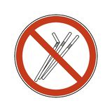 Verbodsteken met stro Plastic bestek voor ??nmalig gebruik Reeks van de verbods de vectorillustratie van plastic stro vlak emblee vector illustratie