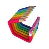 Verbogene farbige abstrakte Bleistifte Stockfoto