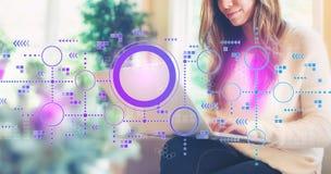 Verbonden cirkelsgrafiek met vrouw die laptop met behulp van stock foto's