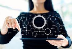 Verbonden cirkelsgrafiek met vrouw die tablet gebruiken stock fotografie