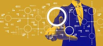 Verbonden cirkelsgrafiek met zakenman in duotone stock afbeelding