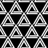 Verbonden driehoeken zwart-wit geometrisch abstract naadloos patroon, vector Royalty-vrije Stock Foto