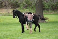 Verbonden militie die de slag verlaten - het Burgeroorlogweer invoeren royalty-vrije stock foto's