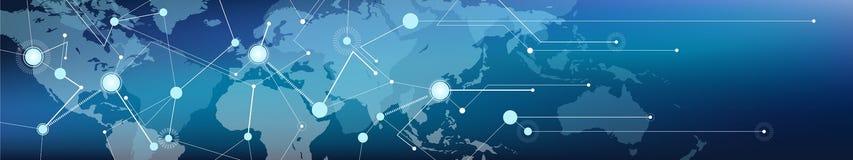 """Verbonden wereld kaart banner†""""mededeling/logistiek en vervoer/handel, digitalisering en connectiviteit vector illustratie"""