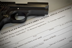 Verborgene Pistolen-Erlaubnis-Anwendung Stockbild