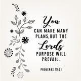 Verbos das citações da Bíblia no projeto floral da grinalda Foto de Stock Royalty Free