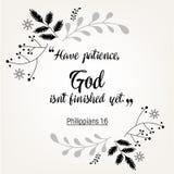 Verbos das citações da Bíblia no projeto floral da grinalda Foto de Stock