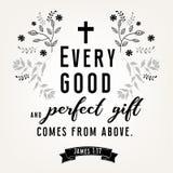 Verbos das citações da Bíblia no projeto floral da grinalda Fotos de Stock Royalty Free