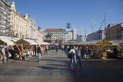 Verbot Josip Jelacic Square während der Krawatten-Tage in Zagreb, Kroatien Lizenzfreie Stockfotos