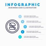 Verbot, verboten, Diät, nährend, schnelle Linie Ikone mit Hintergrund infographics Darstellung mit 5 Schritten stock abbildung