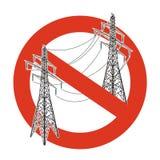 Verbot von Stromleitungen Strenges Verbot auf Bau von elektrischen Masten Stoppen Sie Stromvorsicht vektor abbildung