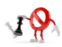 Verbotener Charakter, der Schach spielt lizenzfreie abbildung
