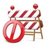 Verbotener Kreis mit Straßen-Warnzeichen Lizenzfreies Stockbild