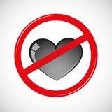 Verbotenes Liebeszeichen-Ikonenpiktogramm vektor abbildung