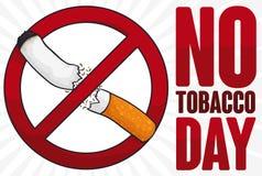Verbotenes Signal, das eine Zigarette für keinen Tabak-Tag, Vektor-Illustration bricht stock abbildung