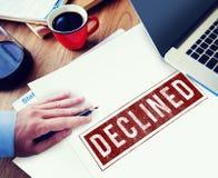 Verbotenes verweigertes gesunkenes negatives Stempel-Konzept Stockfoto