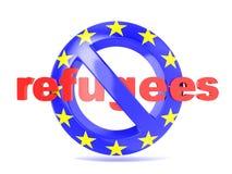 Verbotenes Zeichen mit EU-Flagge und -flüchtlingen Flüchtlingskrisenkonzept 3d übertragen stock abbildung