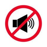 Verbotenes Zeichen mit flacher Ikone des Lautsprecher Glyph-Vektors Anzeige des Signals, Verbot zu lärmen Sprecher mit Verbotszei Stockbild