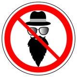 Verbotszeichen des tragenden Hutes, der Gläser und des Bartes, Vektor stock abbildung