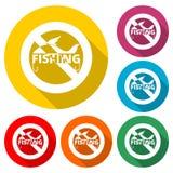 Verbotszeichen keine Fischenikone, kein Fischen-Zeichen, Farbikone mit langem Schatten vektor abbildung