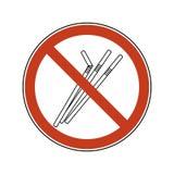 Verbotszeichen mit Strohen Einwegplastiktischbesteck Verbotvektor-Illustrationssatz des flachen Logos der Plastikstrohe vektor abbildung