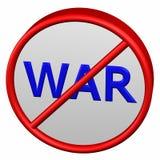 Verbotszeichen mit Wortkrieg Lizenzfreies Stockfoto