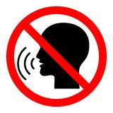 Verbotszeichen tun nicht sprechend stock abbildung