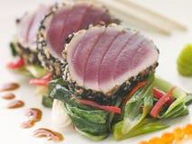 Verbrannter gelber Flosse-Thunfisch mit Sesam-Startwert- für Zufallsgeneratorbonbon Frei stockbild