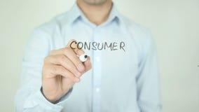 Verbraucher-Angelegenheiten, schreibend auf transparenten Schirm stock footage