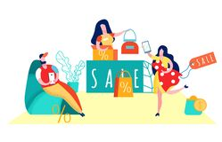 Verbraucherschutzbewegung, flache Vektor-Illustration Shopaholism stock abbildung