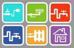 Verbrauchszähler der Ikonen: Strom, Gas, kaltes Wasser, Heißwasser, erhitzend Lizenzfreie Stockfotografie