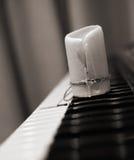 Verbrauchte Kerze, Klavier Stockfotografie