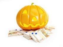 Verbrauchtes Geld auf Halloween Stockbild