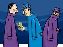 Verbrechen- oder Korruptionskarikaturillustration Lizenzfreie Stockfotos