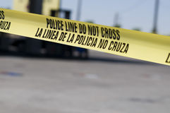 Verbrechen scence an der Tankstelle Stockfotografie