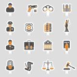 Verbrechen-und Bestrafungs-Ikonen-Aufkleber-Satz Lizenzfreies Stockbild