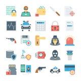 Verbrechen-und Sicherheits-Vektor-Ikonen 3 Stockfotografie