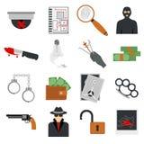Verbrechenikonenschutzgesetzesgerechtigkeits-Zeichensicherheitspolizei schießen Ikone im flachen Farbvektor Stockfoto