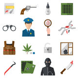 Verbrechenikonenschutzgesetzesgerechtigkeits-Zeichensicherheitspolizei schießen Ikone im flachen Farbvektor Lizenzfreies Stockbild