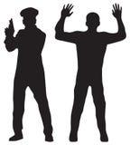 Verbrecher und Polizeibeamte Lizenzfreies Stockbild