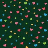 Verbreiten Sie Herzliebesform auf nahtlosem Muster des dunkelgrünen Vektors Lizenzfreies Stockbild