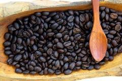 Verbreiten Sie Kaffeesamen auf dem hölzernen Löffel, der auf weißem Hintergrund lokalisiert wird Lizenzfreie Stockfotos