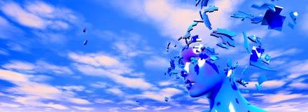 Verbrijzelde gezichtsspanning en hoofdpijn abstract idee stock illustratie