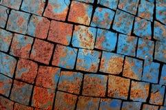 Verbrijzelde roestige metaaltextuur Stock Foto's
