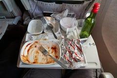 Verbruikt luchtvaartlijnvoedsel royalty-vrije stock foto