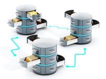 Verbundene Datenserver mit Gestellen der offenen Datei Abbildung 3D vektor abbildung