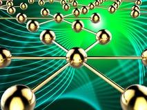 Verbundenes Netz zeigt globale Kommunikationen und Computer an Stockfoto