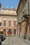 The old center of Vercelli on Italy. Vercelli, Italy - 8 September 2018: the old center of Vercelli on Italy royalty free stock photo